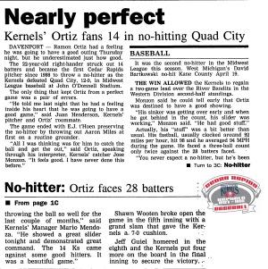 1997 August 7 CR Gazette Ramon Ortiz No-hitter